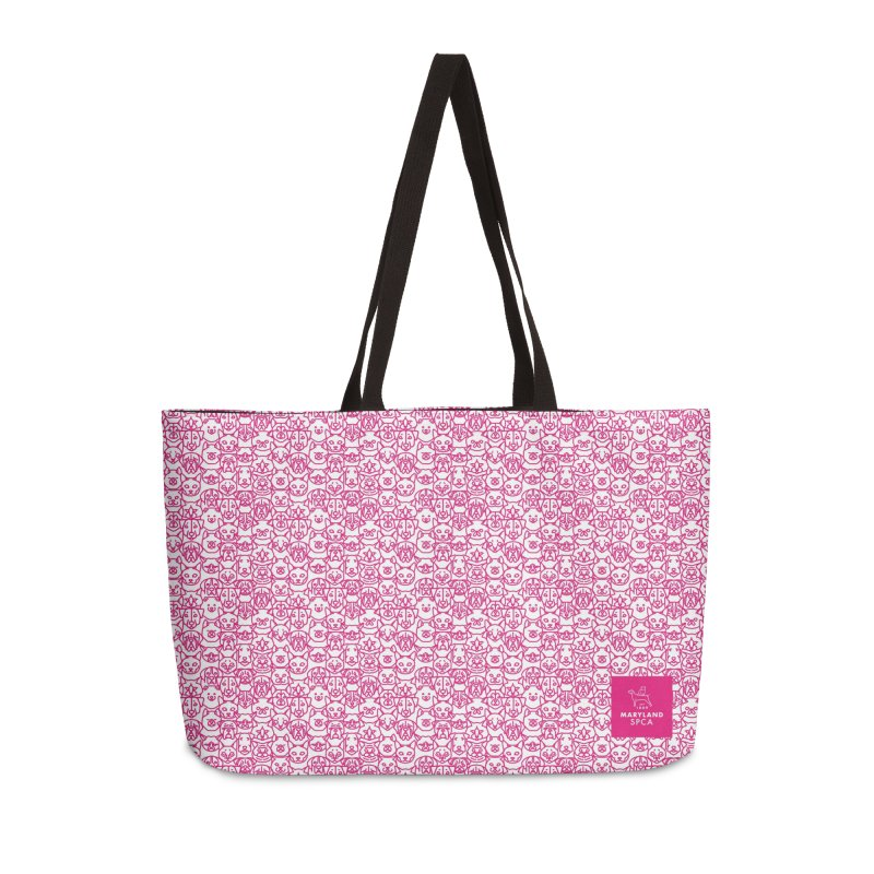 Maryland SPCA Cats & Dogs Pattern - PINK Accessories Weekender Bag Bag by Maryland SPCA's Artist Shop