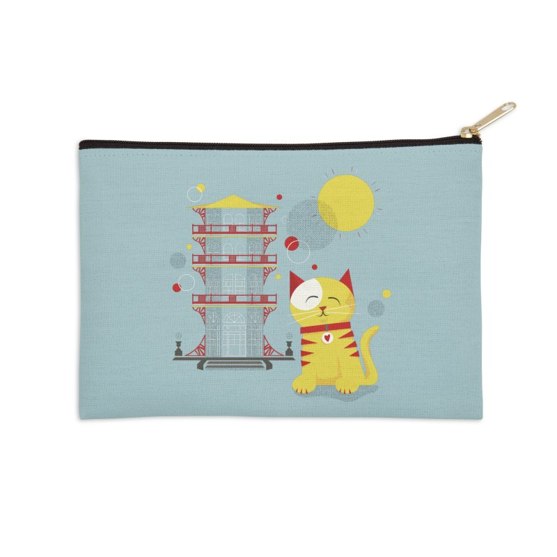 Pawgoda (Wall Art) By Richard Kercz - Light Blue/Green Accessories Zip Pouch by Maryland SPCA's Artist Shop