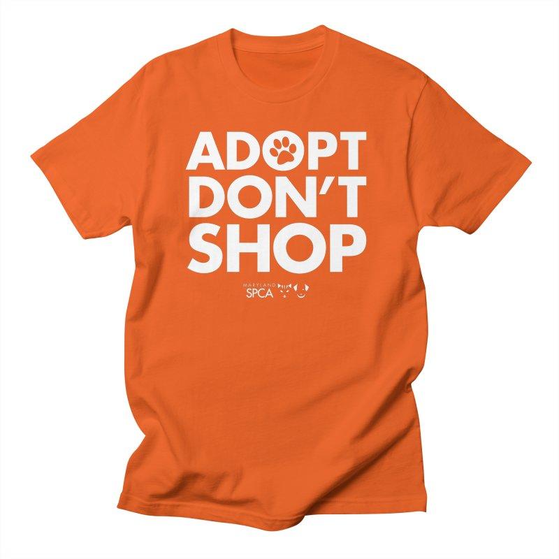 Adopt Don't Shop - WHITE- MD SPCA Design Men's T-Shirt by Maryland SPCA's Artist Shop