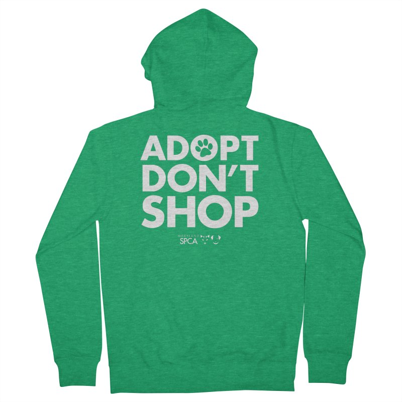Adopt Don't Shop - WHITE- MD SPCA Design Men's Zip-Up Hoody by Maryland SPCA's Artist Shop