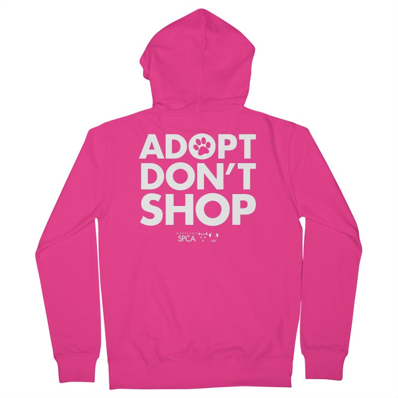 Adopt Don't Shop - WHITE- MD SPCA Design Men's French Terry Zip-Up Hoody by marylandspca's Artist Shop
