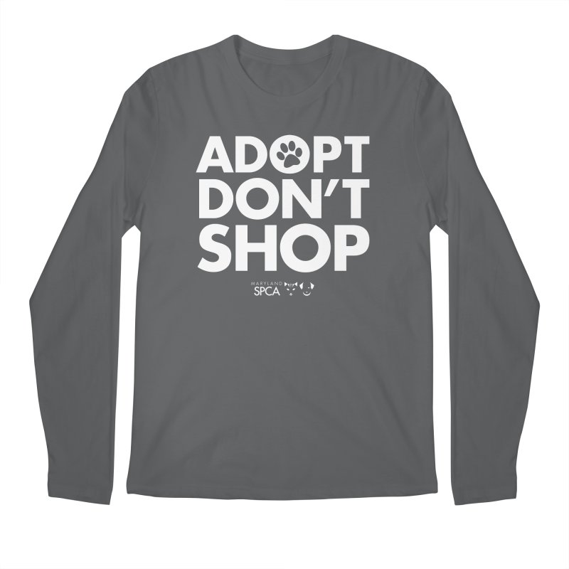 Adopt Don't Shop - WHITE- MD SPCA Design Men's Regular Longsleeve T-Shirt by Maryland SPCA's Artist Shop