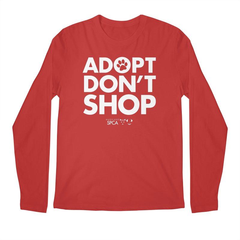 Adopt Don't Shop - WHITE- MD SPCA Design Men's Regular Longsleeve T-Shirt by Maryland SPCA's Artist Shop