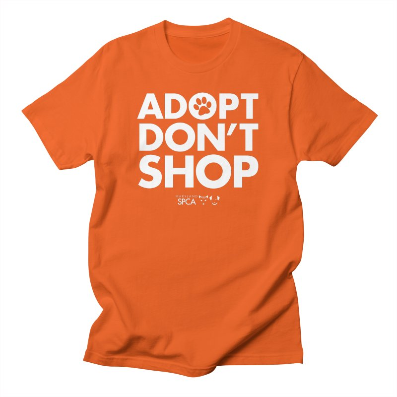 Adopt Don't Shop - WHITE- MD SPCA Design Men's Regular T-Shirt by Maryland SPCA's Artist Shop