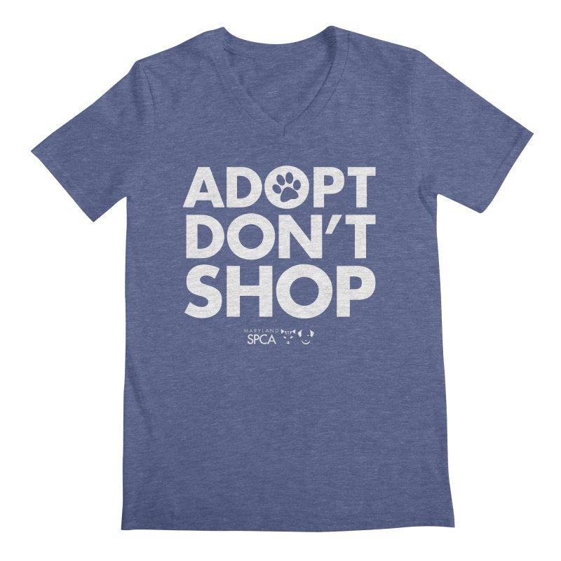 Adopt Don't Shop - WHITE- MD SPCA Design Men's V-Neck by Maryland SPCA's Artist Shop