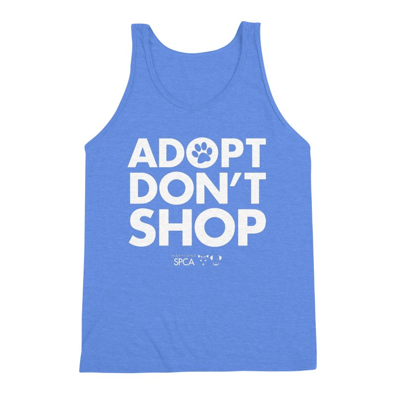 Adopt Don't Shop - WHITE- MD SPCA Design Men's Triblend Tank by Maryland SPCA's Artist Shop