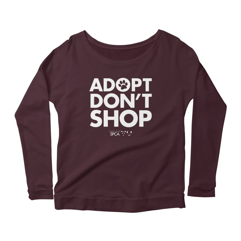 Adopt Don't Shop - WHITE- MD SPCA Design Women's Scoop Neck Longsleeve T-Shirt by marylandspca's Artist Shop