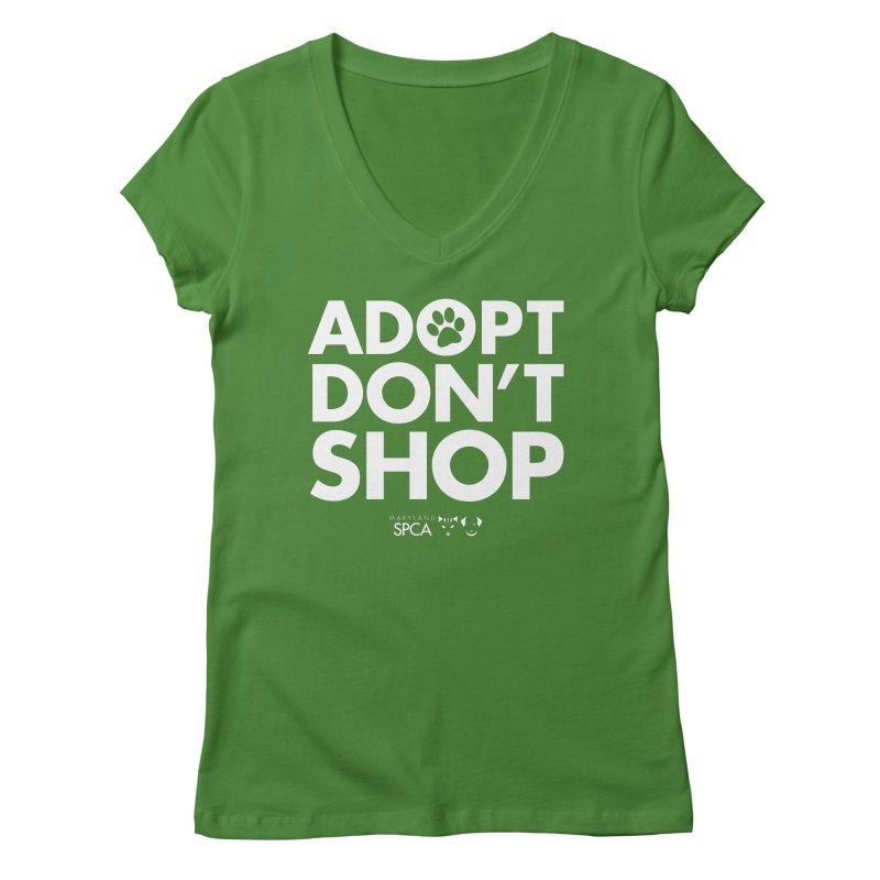 Adopt Don't Shop - WHITE- MD SPCA Design Women's Regular V-Neck by Maryland SPCA's Artist Shop