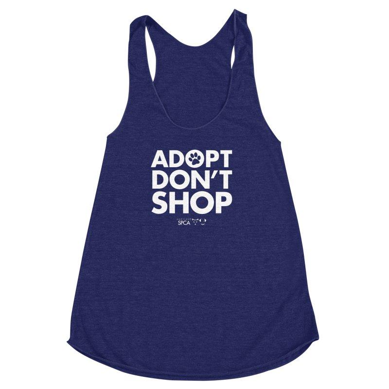 Adopt Don't Shop - WHITE- MD SPCA Design Women's Racerback Triblend Tank by Maryland SPCA's Artist Shop