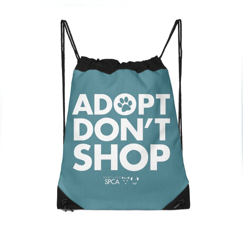 Adopt Don't Shop - WHITE- MD SPCA Design Accessories Drawstring Bag Bag by Maryland SPCA's Artist Shop