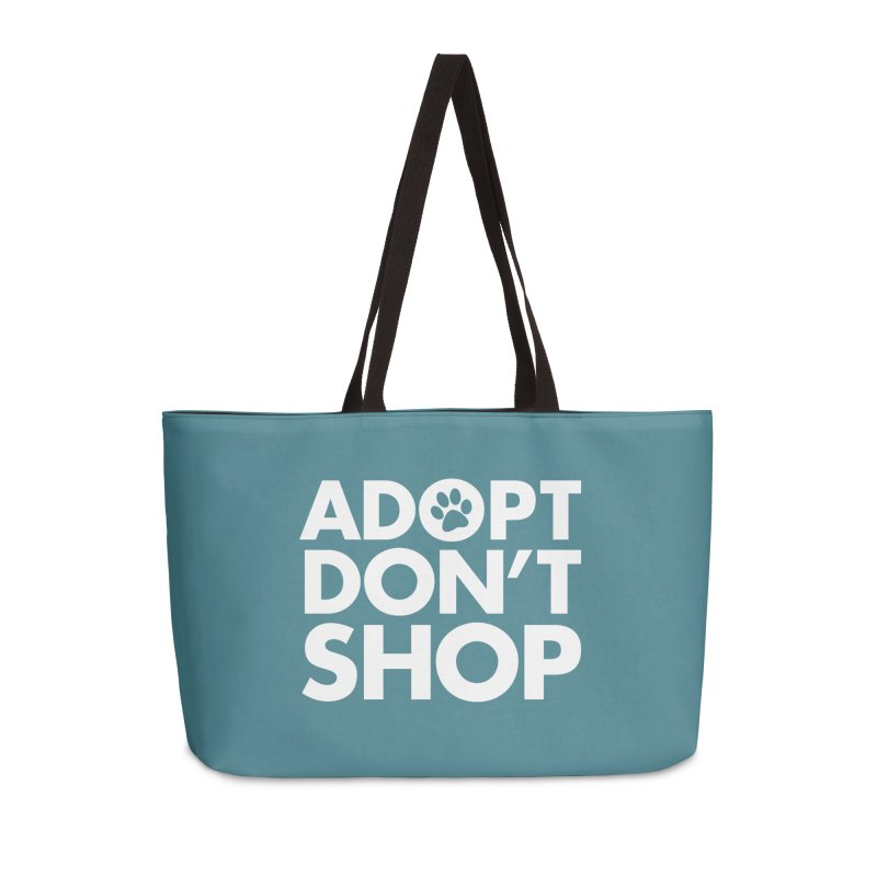 Adopt Don't Shop - WHITE- MD SPCA Design Accessories Weekender Bag Bag by Maryland SPCA's Artist Shop