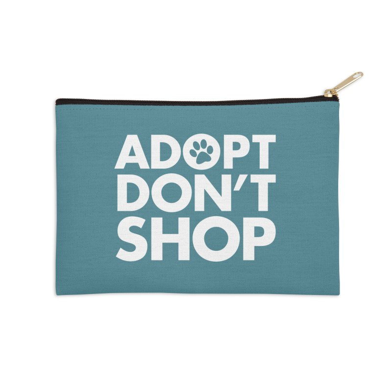 Adopt Don't Shop - WHITE- MD SPCA Design Accessories Zip Pouch by Maryland SPCA's Artist Shop