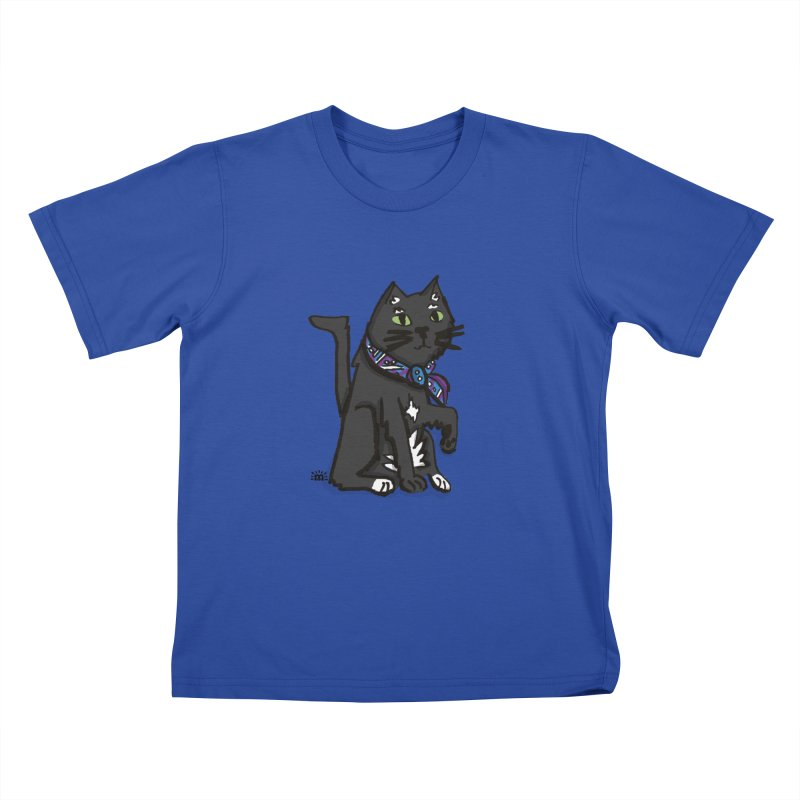 Pingu Cat in Kids T-Shirt Royal Blue by maryroselytle's shop