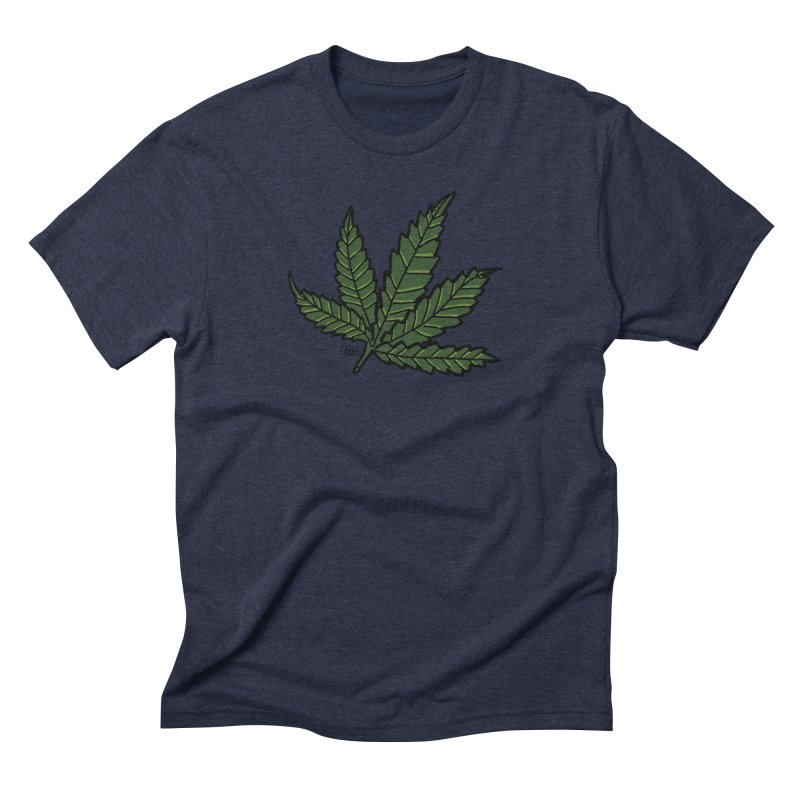 Cannabis Leaf in Men's Triblend T-Shirt Navy by maryroselytle's shop