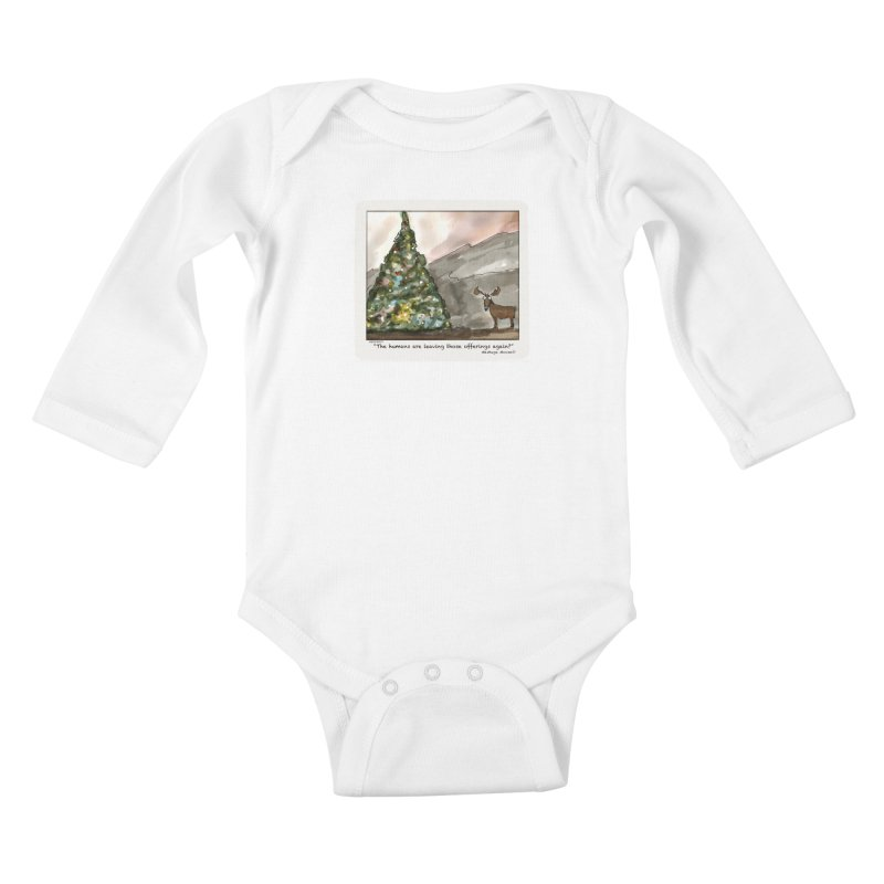 The humans are making offerings again. Kids Baby Longsleeve Bodysuit by Mashuga Moose® is on the loose.