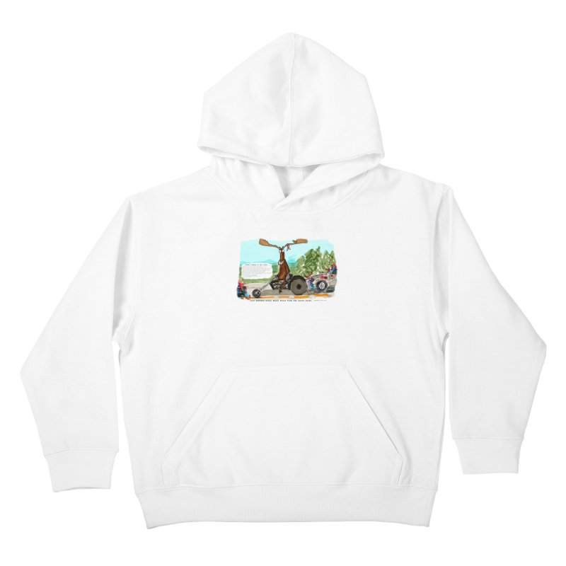 Marty takes a ride Kids Pullover Hoody by Mashuga Moose® is on the loose.