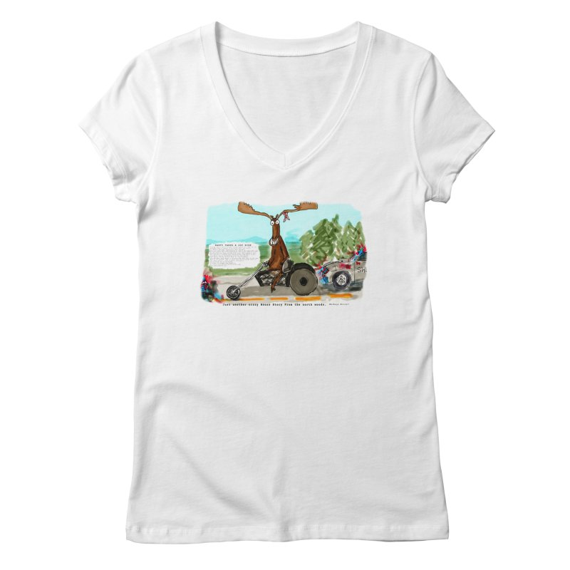 Marty takes a ride Women's Regular V-Neck by Mashuga Moose® is on the loose.