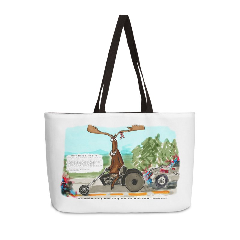 Marty takes a ride Accessories Weekender Bag Bag by Mashuga Moose® is on the loose.