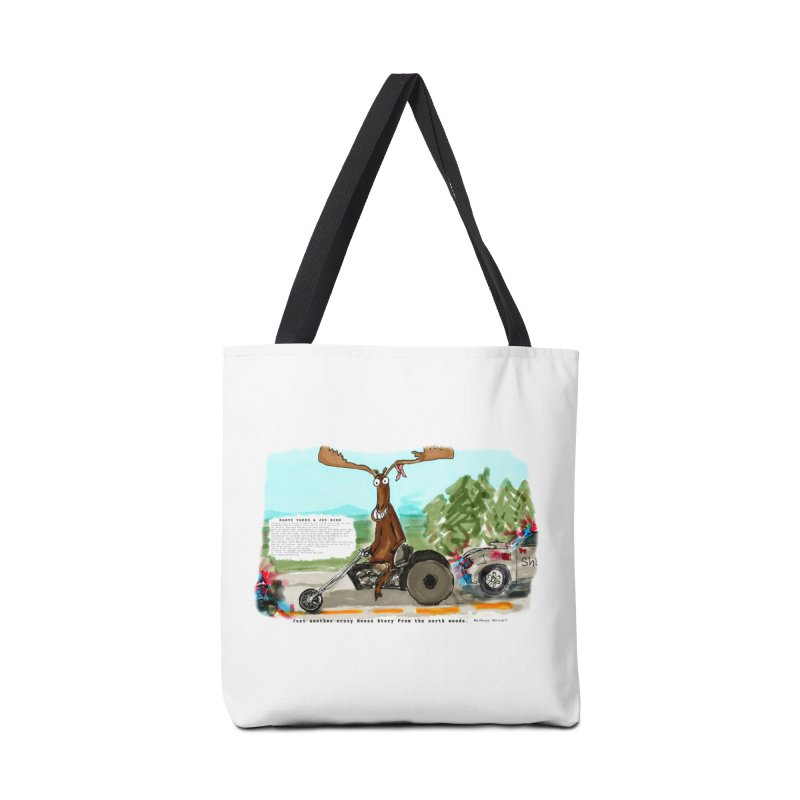 Marty takes a ride Accessories Tote Bag Bag by Mashuga Moose® is on the loose.