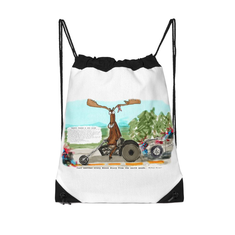 Marty takes a ride Accessories Drawstring Bag Bag by Mashuga Moose® is on the loose.