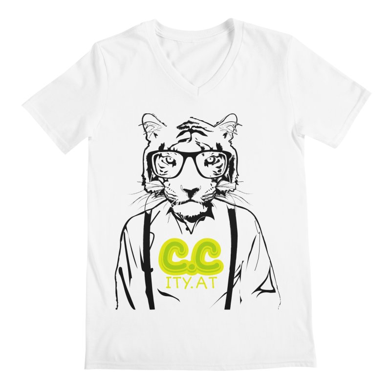 citycat Men's V-Neck by masslos's Artist Shop