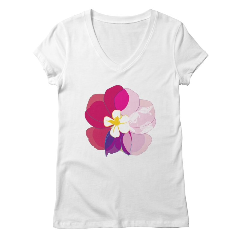 flower fish Women's Regular V-Neck by masslos's Artist Shop