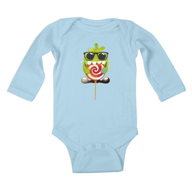 lolly monster Kids Baby Longsleeve Bodysuit by masslos's Artist Shop