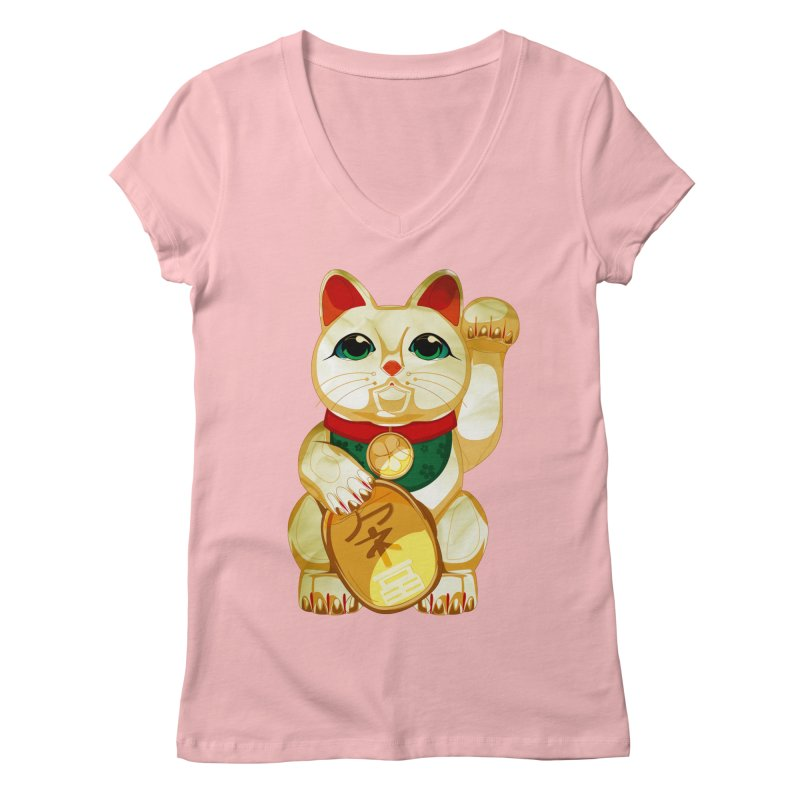 maneki neko Women's Regular V-Neck by masslos's Artist Shop