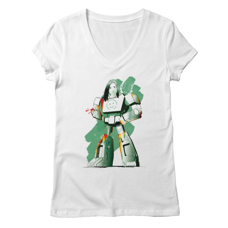 transformer girl Women's Regular V-Neck by masslos's Artist Shop