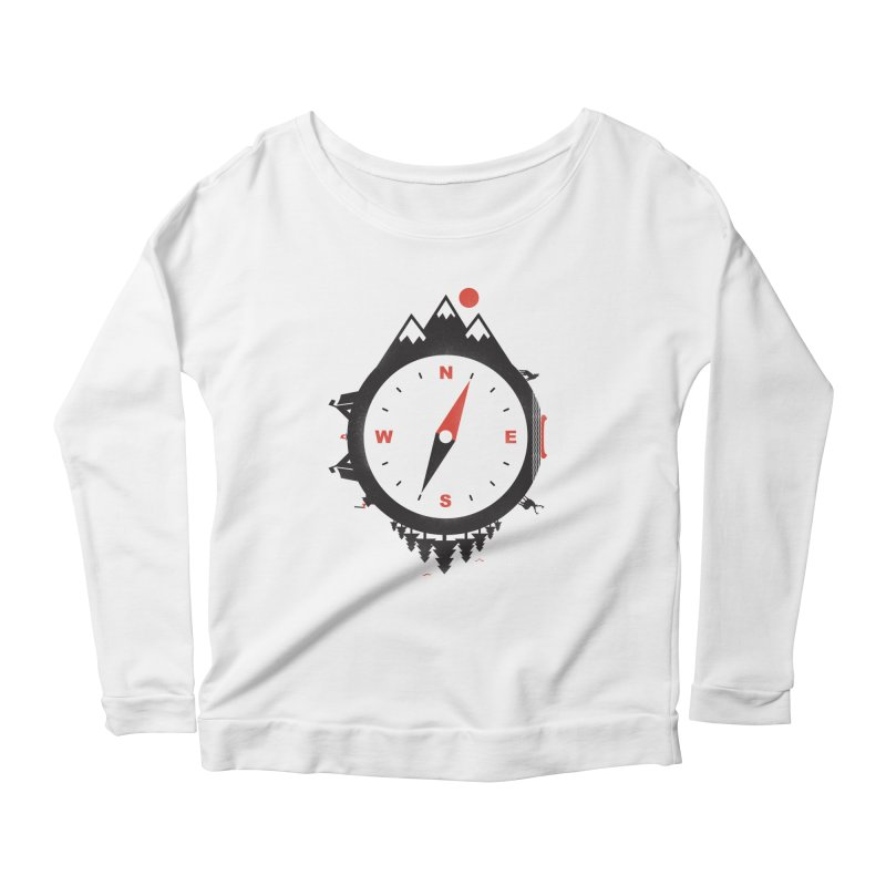 Adventure Compass Women's Longsleeve Scoopneck  by mateusquandt's Artist Shop