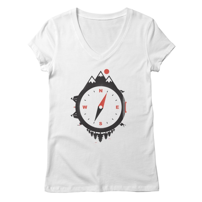 Adventure Compass Women's V-Neck by mateusquandt's Artist Shop