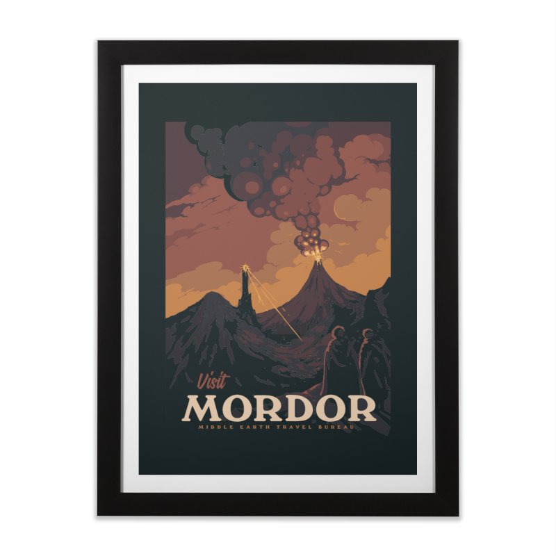 Visit Mordor Travel Poscard Home Framed Fine Art Print by mathiole