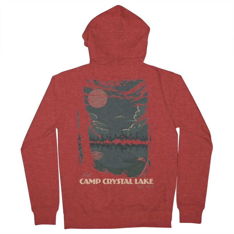Visit Camp Crystal Lake Men's French Terry Zip-Up Hoody by mathiole