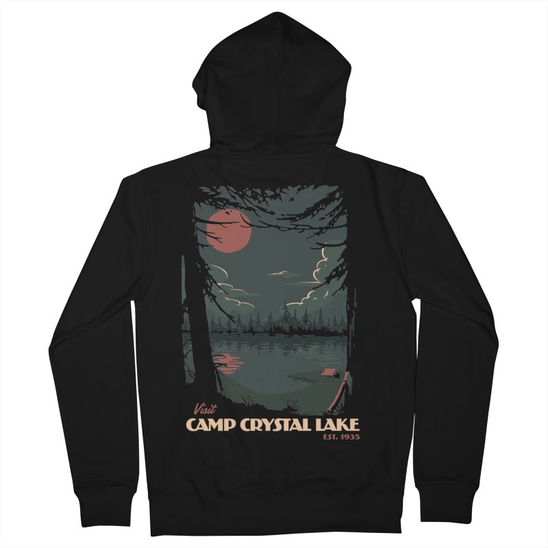 Visit Camp Crystal Lake Men's Zip-Up Hoody by mathiole