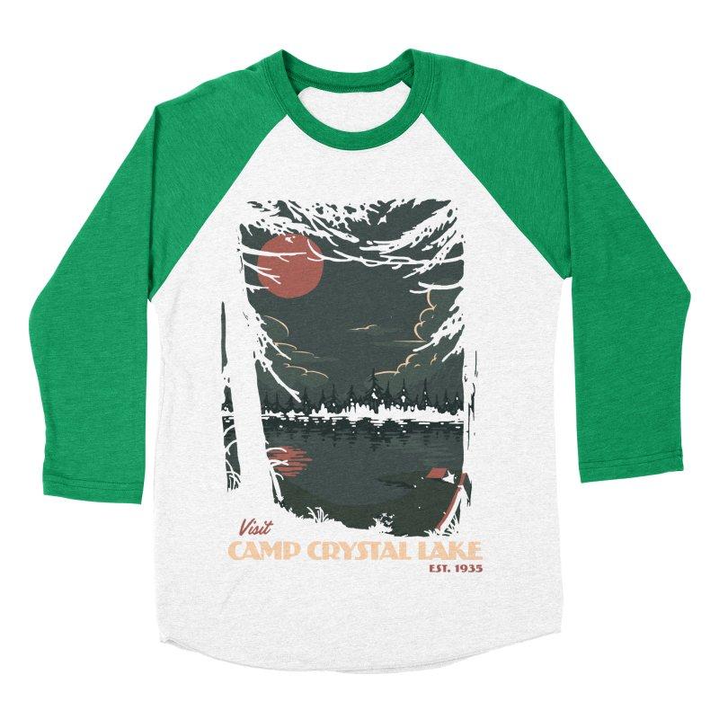Visit Camp Crystal Lake Men's Baseball Triblend T-Shirt by mathiole
