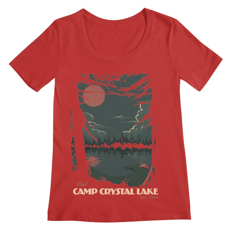 Visit Camp Crystal Lake Women's Regular Scoop Neck by mathiole