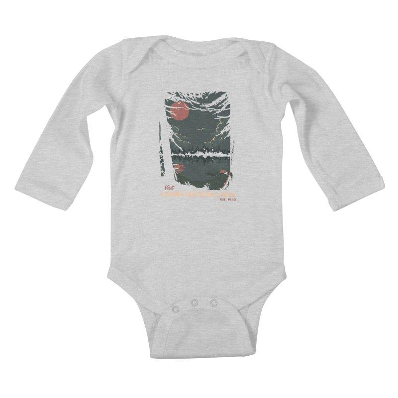 Visit Camp Crystal Lake Kids Baby Longsleeve Bodysuit by mathiole