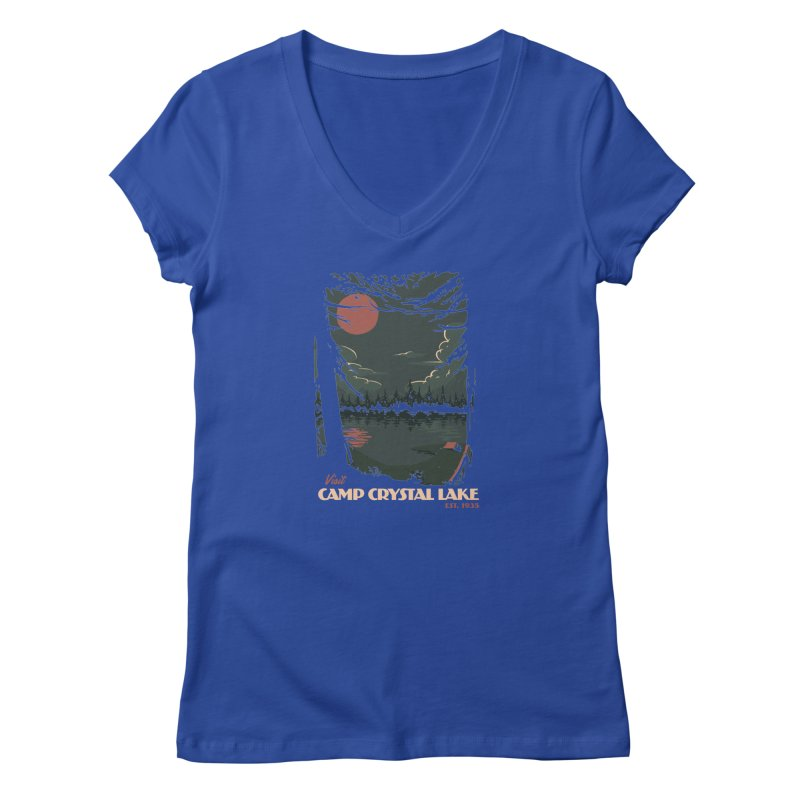 Visit Camp Crystal Lake Women's V-Neck by mathiole