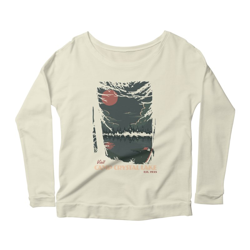 Visit Camp Crystal Lake Women's Scoop Neck Longsleeve T-Shirt by mathiole