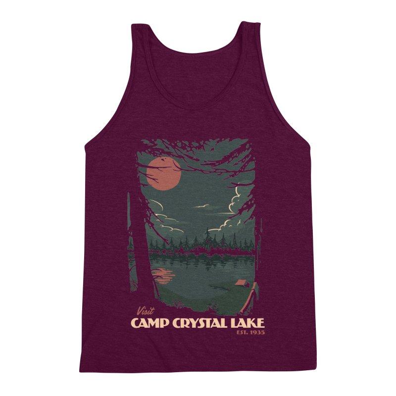 Visit Camp Crystal Lake Men's Triblend Tank by mathiole