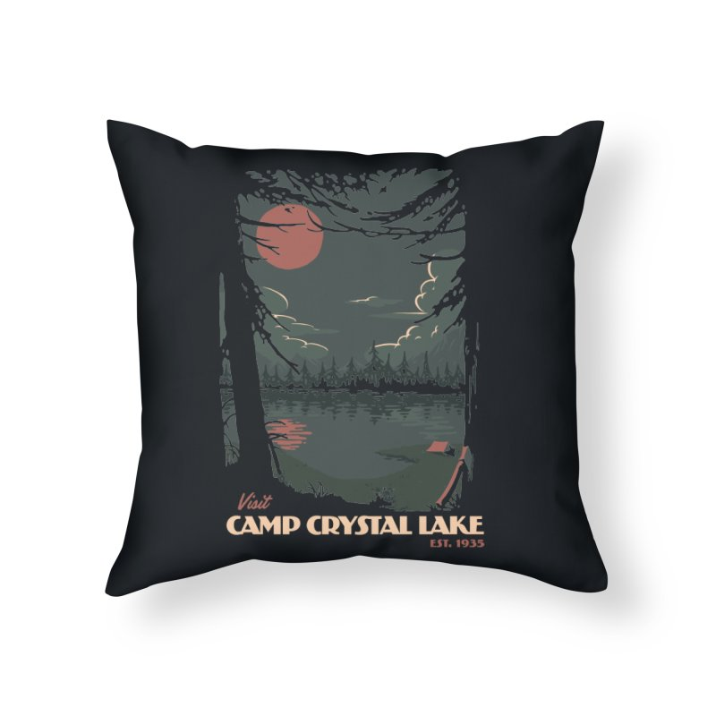 Visit Camp Crystal Lake Home Throw Pillow by mathiole