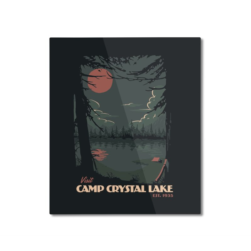 Visit Camp Crystal Lake Home Mounted Aluminum Print by mathiole