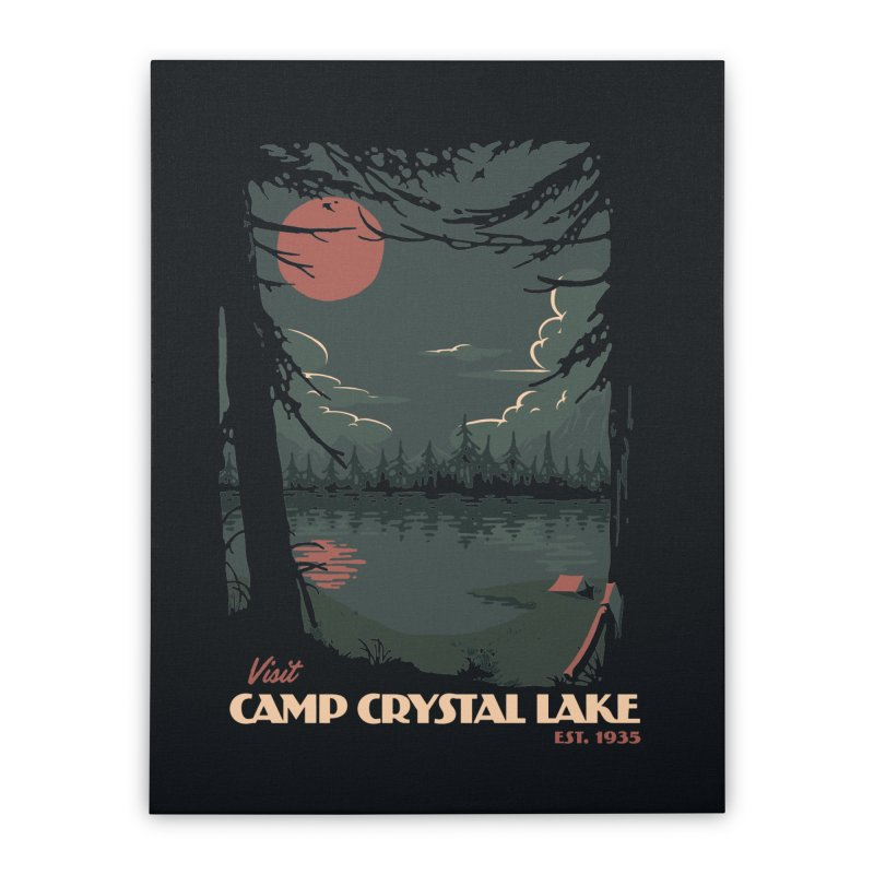 Visit Camp Crystal Lake Home Stretched Canvas by mathiole