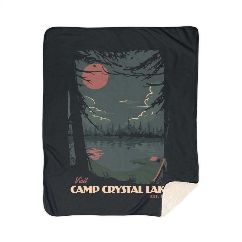 Visit Camp Crystal Lake Home Sherpa Blanket Blanket by mathiole