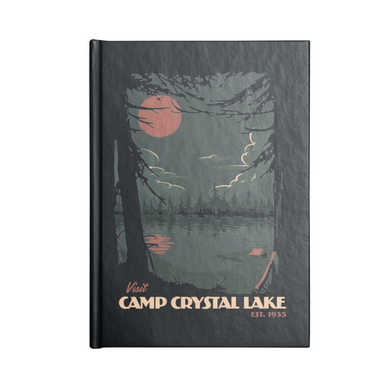 Visit Camp Crystal Lake Accessories Lined Journal Notebook by mathiole