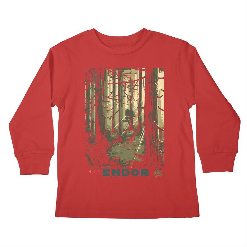 Visit Endor Kids Longsleeve T-Shirt by mathiole