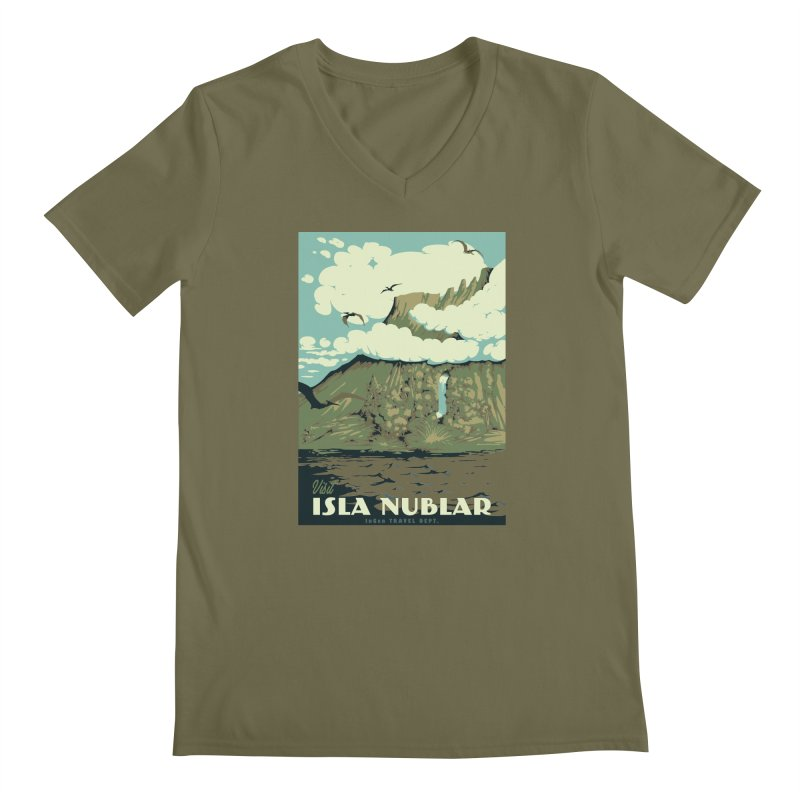 Visit Isla Nublar Men's V-Neck by mathiole