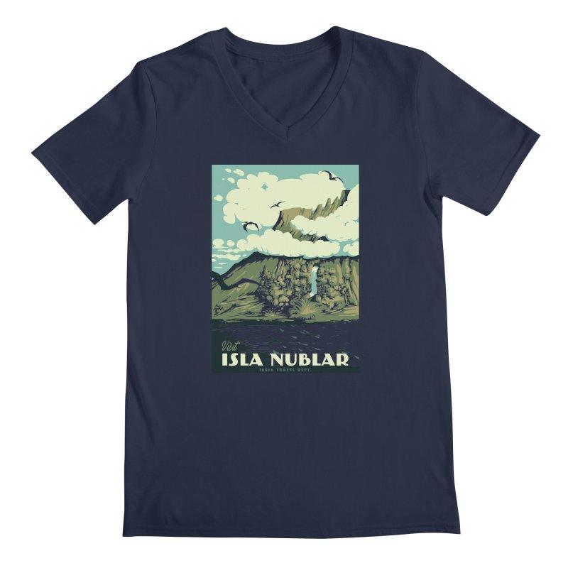 Visit Isla Nublar Men's V-Neck by mathiole