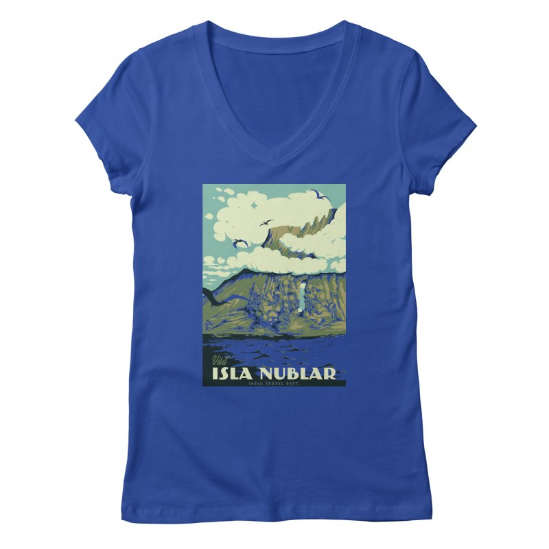 Visit Isla Nublar Women's Regular V-Neck by mathiole