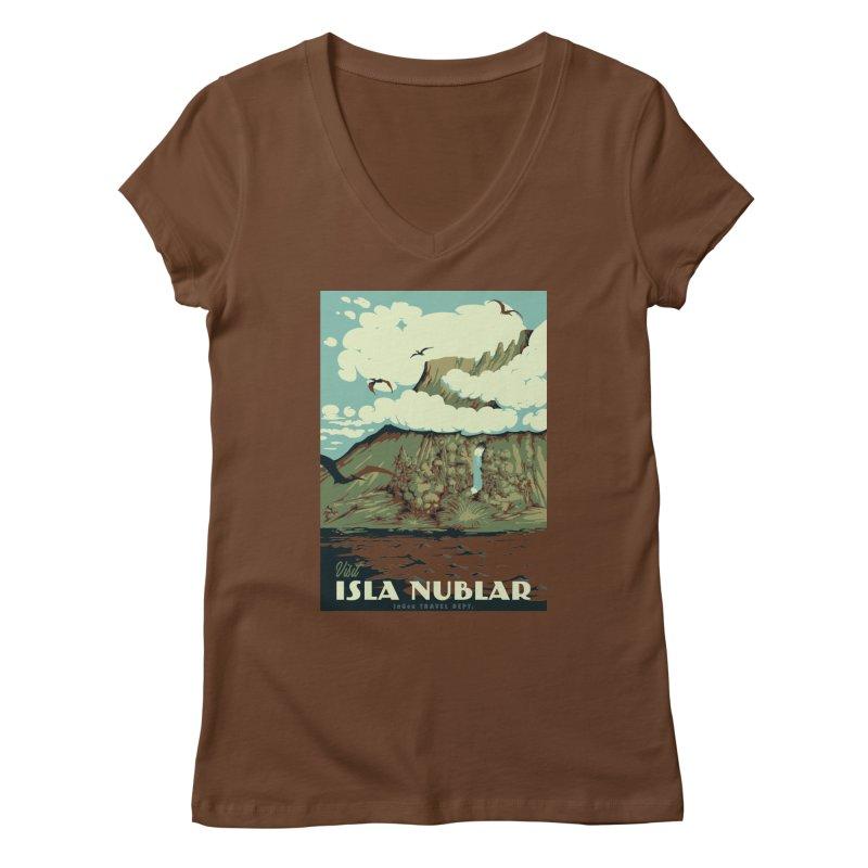 Visit Isla Nublar Women's Regular V-Neck by mathiole